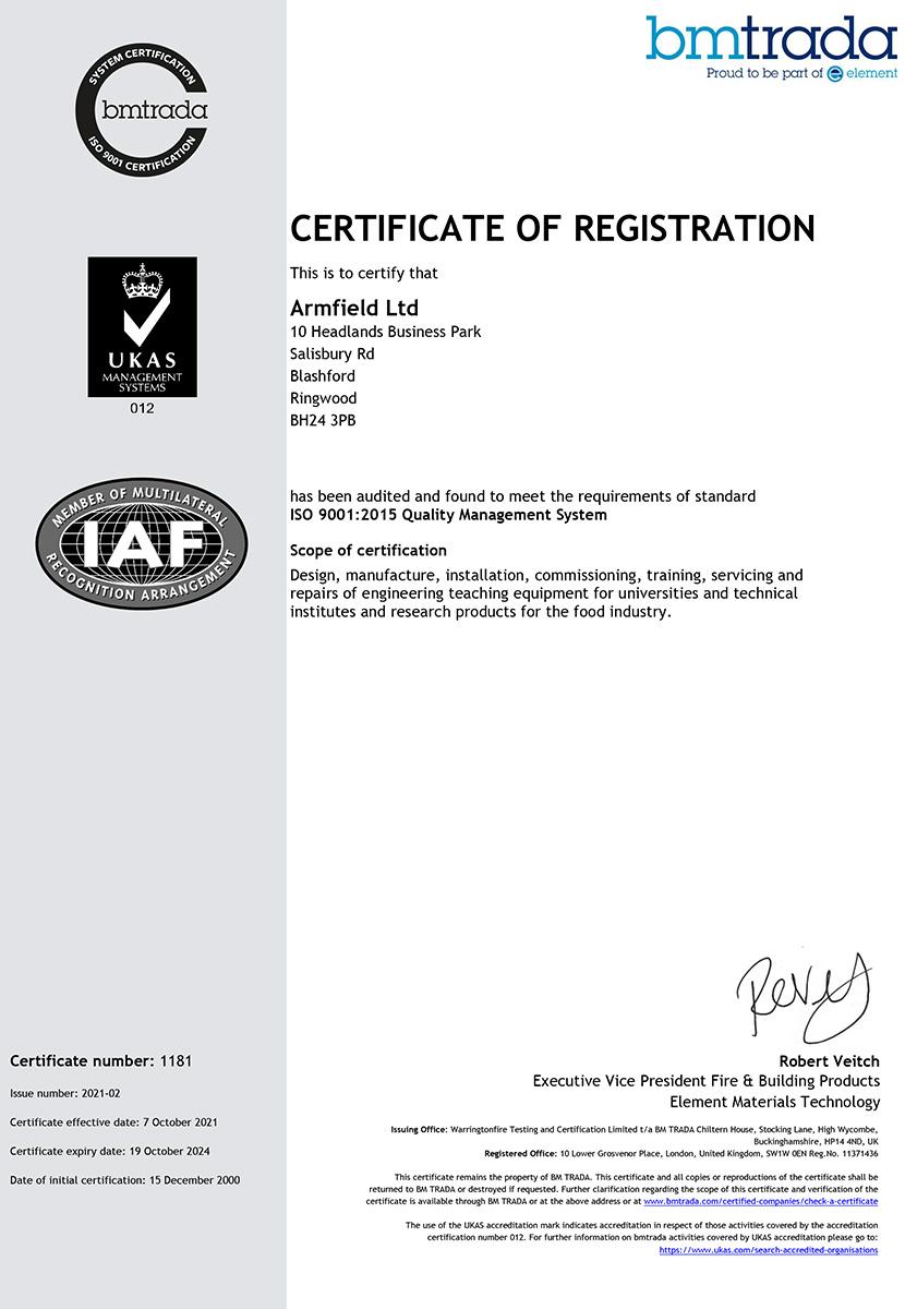 Armfield Ltd ISO 9001-2015 Certificate